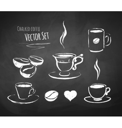 Chalked coffee set vector