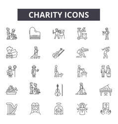 charity line icons signs set outline vector image