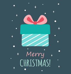 christmas greeting card with cute gift vector image