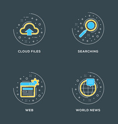 cloud files searching web world news set of 4 vector image