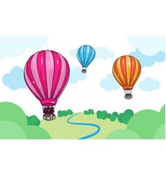 colorful cartoon air hot balloons vector image