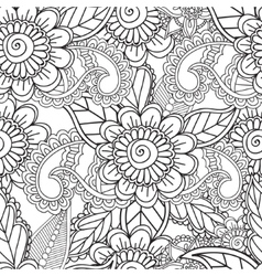 Coloring pages for adults seamless henna mehndi vector