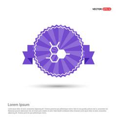 Connection of cells molecule icon - purple ribbon vector
