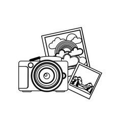 Contour camera with pictures icon vector