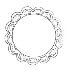 Contour emblem with abstract decorations icon vector