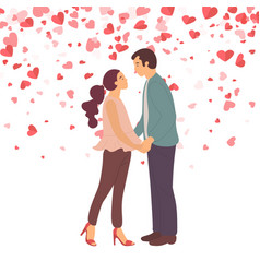 couple in love going to kiss lady and guy vector image