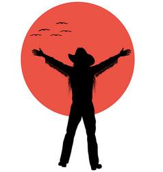 cowboy with birds vector image