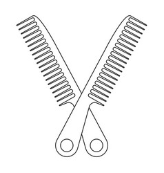 Crossed on hair comb flat icon for apps vector