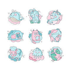 cute cartoon baby animals sleeping set sweet vector image