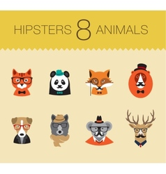 Cute fashion Hipster Animals set 1 of icons vector