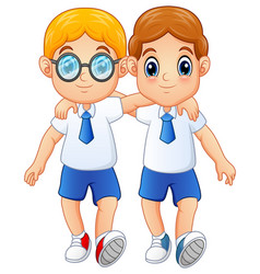 Cute schoolboys in a school uniform vector