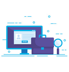 Desktop with social media marketing icons vector