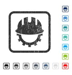 Development hardhat icon rubber watermark vector
