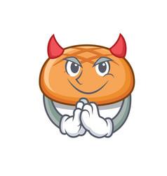 Devil hamburger bun mascot cartoon vector
