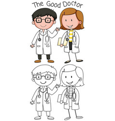 doodle good doctor character vector image