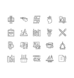 drawing line icons signs set outline vector image