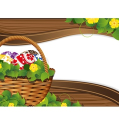 Easter Basket with painted eggs vector