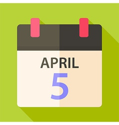 Easter calendar with date 5 april vector