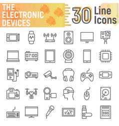 electronic devices line icon set media symbols vector image