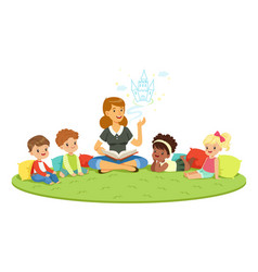 Elementary students and teacher children vector