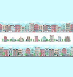 european city street cute suburban buildings vector image