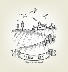 Farm landscape rural view done in graphic vector