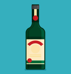 Flat bottle with alcohol icon vector