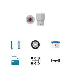 Flat workshop set of accumulator turnscrew tire vector