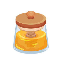 Fresh honey in glass jar with wooden lid and vector