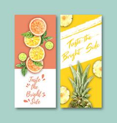 Fruits-themed design flyer orange lime vector