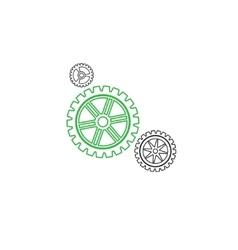 Gears set stroke green vector image