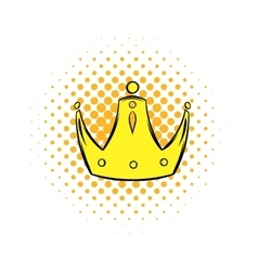 Gold crown comics icon vector