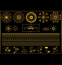 Gold round ornaments and border on black vector