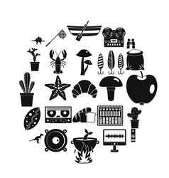 great food icons set simple style vector image