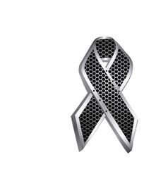 Grill perforated frame of lace ribbon cancer icon vector