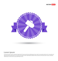 hammer icon - purple ribbon banner vector image
