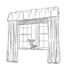 Hand drawn Windows Sketch Curtains vector