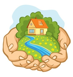 Hands holding a piece of land with a house vector image