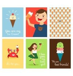 Happy kids with ice cream vector