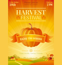 harvest festival poster fall party invitation vector image