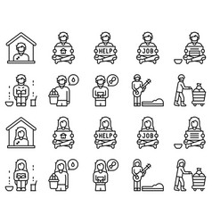 homeless icon set 1 line style vector image