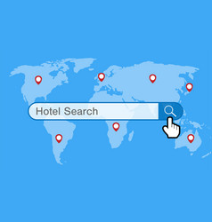 hotel search engine with world map and gps icon vector image