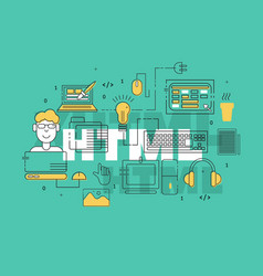 Html coder creative banner vector