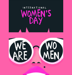 International womens day card pink woman face vector