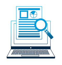 laptop with document report magnifying glass vector image