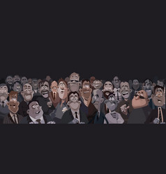 Large crowd of funny cartoon people in a dark room vector