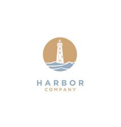 Lighthouse searchlight beacon tower beach logo vector