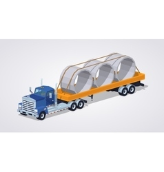 Low poly blue heavy truck and yellow trailer with vector