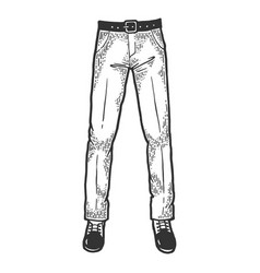 male legs in trousers and shoes sketch vector image