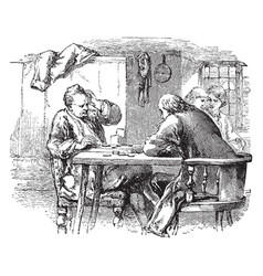 men at table vintage vector image